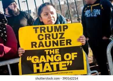 Chicago, ILLINOIS - MARCH 11, 2016: Protesters demonstrate against hate-speech outside the Donald Trump rally at the University of Illinois at Chicago Pavilion.