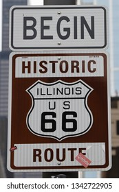 CHICAGO, ILLINOIS - MARCH 12, 2019: Route 66 sign, the beginning of historic Route 66 in Chicago, Illinois