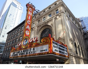CHICAGO, ILLINOIS - MARCH 12, 2019: The famous Chicago Theater on State Street in Chicago, Illinois. Opened in 1921, the theater was renovated in the 1980's and is now owned by Madison Square Garden