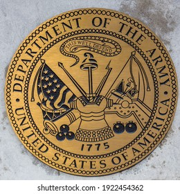 CHICAGO, ILLINOIS - MARCH 12, 2019: Department of the Army logo at the Chicago Remembers Vietnam Veterans Memorial on Chicago`s Riverwalk