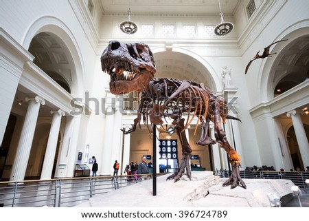 CHICAGO, ILLINOIS - March 7, 2015: The Field Museum is located on Lake Shore Drive next to Lake Michigan, part of a scenic complex the Museum Campus, Chicago, Illinois, USA