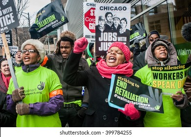 CHICAGO, ILLINOIS - NOVEMBER 28, 2014: Striking workers and supporters protest against low wages and charge that Walmart retaliates against employees who push for better working conditions.