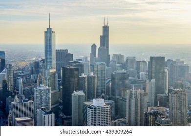 CHICAGO, ILLINOIS - OCTOBER 13, 2013 - view of the city of Chicago in the United States with endless skyscrapers. in the photo are no trademarks or recognizable people