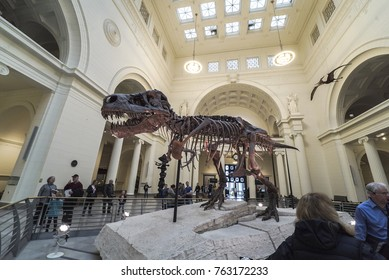 CHICAGO, ILLINOIS - October 27, 2017: The Field Museum is located on Lake Shore Drive next to Lake Michigan, part of a scenic complex the Museum Campus, Chicago, Illinois, USA. Many people show T-Rex.