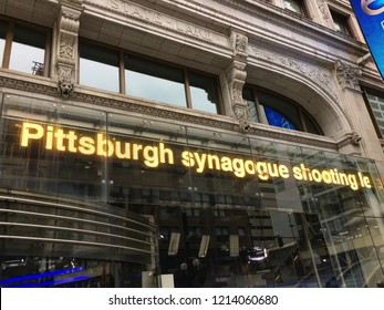 CHICAGO, ILLINOIS - OCTOBER 27, 2018: An ABC7 newsfeed on State Street in downtown Chicago broadcasts news of the fatal shooting in a Squirrel Hill synagogue.