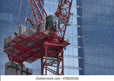 CHICAGO, ILLINOIS - SEPTEMBER 4: Description on September 4, 2016 construction crane positioned for lifting building materials for CNA headquarters project in downtown Loop business district.