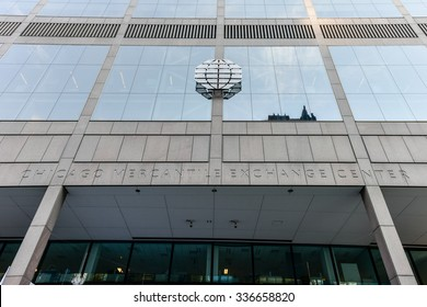 """Chicago, Illinois - September 5, 2015: Chicago Mercantile Exchange Center is an office complex of two towers in Chicago, Illinois. """"The Merc"""" is also known by its address, 30 South Wacker."""