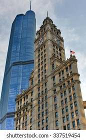 Chicago, Illinois - September 5, 2015: The Trump International Hotel & Tower and Wrigley Building in Chicago.