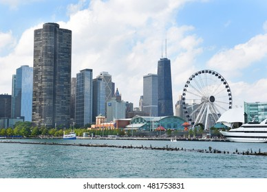 CHICAGO, ILLINOIS - SEPTEMBER 5, 2016: Centennial Wheel at Navy Pier. The new attraction and the Chicago skyline seen from Lake Michigan.