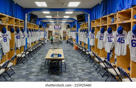 CHICAGO, ILLINOIS - SEPTEMBER 8: Chicago Cubs locker room at Wrigley Field on September 8, 2014 in Chicago, Illinois