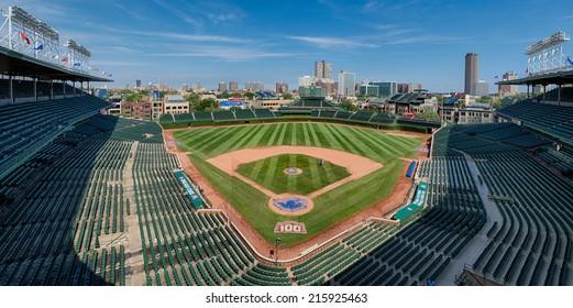 CHICAGO, ILLINOIS - SEPTEMBER 8: An empty Wrigley Field on September 8, 2014 in Chicago, Illinois