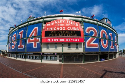 CHICAGO, ILLINOIS - SEPTEMBER 8: Exterior of Wrigley Field at the corner of Clark and Addison Streets on September 8, 2014 in Chicago, Illinois
