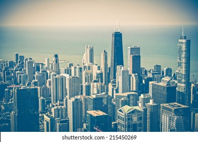 Chicago Illinois Skyline Aerial View. Chicago and Lake Michigan. United States. Vintage Blue Color Grading.