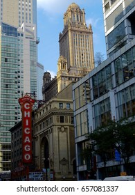 Chicago, Illinois, United States: 10 may 2012. Legendary Chicago theatre (1921) and surrounding buildings in a summer day