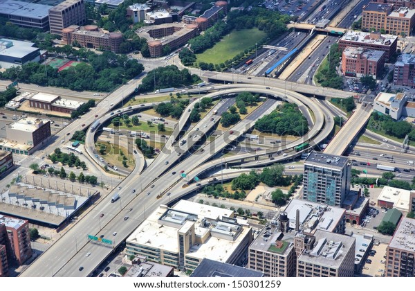 Chicago, Illinois in the United States. Aerial view of a complicated interstate freeway interchange. Road transportation infrastructure.