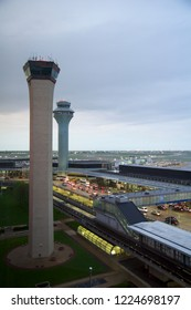 CHICAGO, ILLINOIS, UNITED STATES - MAY 11th, 2018: Air Traffic Control Tower at O'Hare International Airport