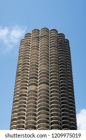 Chicago. Illinois, United States - October 9, 2018: The architectural details of Marina City, a mixed-use residential-commercial building complex designed by architect Bertrand Goldberg.