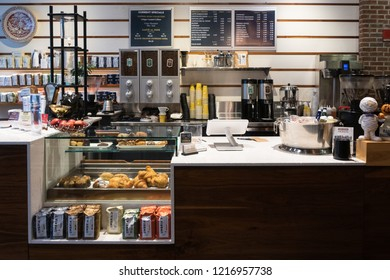 Chicago, Illinois, United States - October 8, 2018: The interior of Caffe Umbria in River North neighborhood of Chicago.
