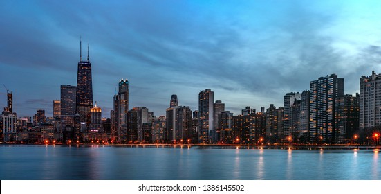 Chicago, Illinois, USA - 04.07.2019 - Chicago Skyline Panorama at Night - Very high resolution
