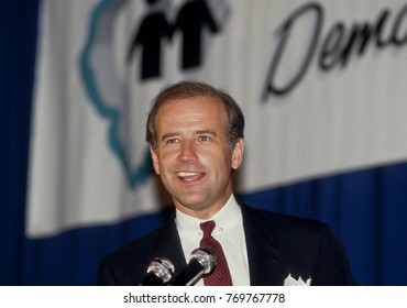 Chicago, Illinois. USA, 11th May, 1987 Senator Joe Biden a presidential aspirant, one of  the featured speakers Monday night at what has was billed as an Illinois Democratic ``Unity Dinner.``