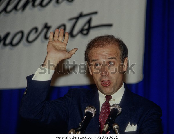 Chicago, Illinois, USA, 11th May, 1987Senator Joe Biden speaking to the Democratic supporters at the Unity dinner a fundraiser in Chicago.