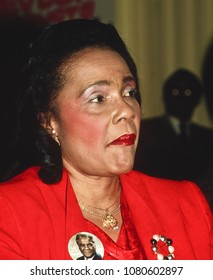 Chicago, Illinois, USA, 1987 Coretta Scott King  was an American author, activist, and civil rights leader, and the wife of Martin Luther King, Jr. from 1953 until his death in 1968.