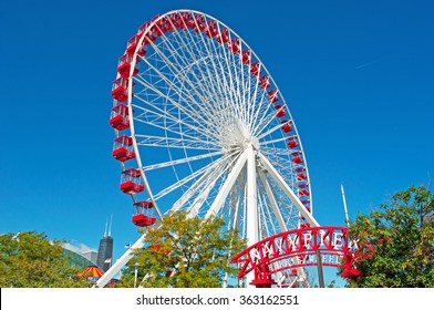 Chicago, Illinois, Usa, 22/09/2014: the Ferris Wheel at Navy Pier, the most iconic attraction of the city constructed by George Washington Gale Ferris Jr as a landmark for the 1893 World's Fair