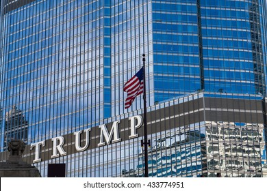Chicago Illinois / USA, 30 May 2016, Stars and Stripes and Trump Tower owned by Donald Trump, presumptive nominee of the  Republican Party for President of the United States in the 2016 election