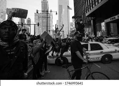 Chicago, Illinois / USA -5/30/2020: Protest for George Floyd, Protesters chant at police.