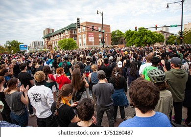 Chicago, Illinois / USA -6/1/2020: Protest for George Floyd, protesters clash with police during peaceful protest in a march for justice for George Floyd.