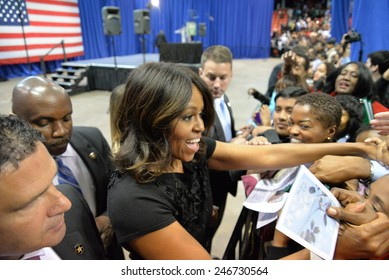 CHICAGO, ILLINOIS/ USA - 7th TUESDAY OCTOBER 2014 : First lady Michelle Obama delivers a speech at the UIC Pavilion calling for voter support for Illinois Gov. Pat Quinn in the upcoming election.
