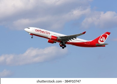 Chicago, Illinois, USA - April 4, 2015 - An AirBerlin Airbus A330 is taking off from runway 28R at the Chicago O'Hare International Airport.