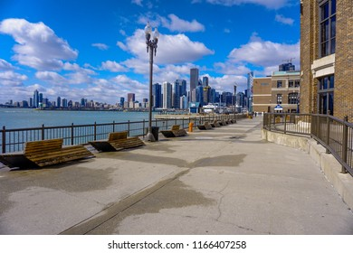 Chicago, Illinois / USA - April 5 2018: Chicago skyline during winter sunny day  from Navy Pier side
