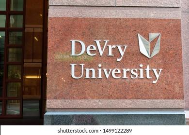 Chicago, Illinois, USA - August 18, 2019: DeVry University Exterior Sign