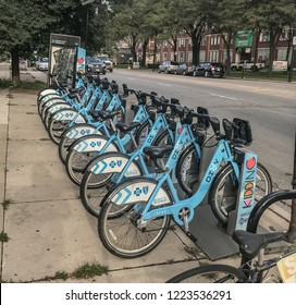 Chicago, Illinois / USA. August 25, 2018: Divy Bike Dock Station.