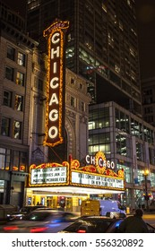 CHICAGO, ILLINOIS, USA - DECEMBER 29, 2016: The Chicago Theatre in Chicago on December 29 2016.