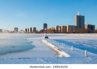 Chicago, Illinois / USA - January 30th, 2019: Polar Vortex Sunrise