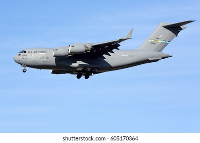 Chicago, Illinois, USA - January 8, 2017: A USAF Military C-17 Cargo Transport Aircraft arrives in Chicago transporting equipment for president Obama's last visit to the city.