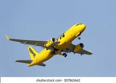 Chicago, Illinois / USA - July 12, 2015: Spirit Airlines Airbus A320 jetliner departing Chicago O'Hare International Airport. Spirit Airlines is one of the fastest growing low cost carriers in the USA