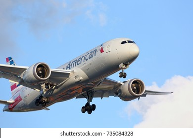 CHICAGO, ILLINOIS / USA - July 13, 2017: Brand new American Airlines Boeing 787 Dreamliner on final approach to O'Hare International Airport during it's long distance flight from Asia