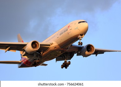 CHICAGO, ILLINOIS / USA - July 13, 2017: Asiana Airlines Boeing 777 on final approach to O'Hare International Airport at the end of its long distance flight from Asia.