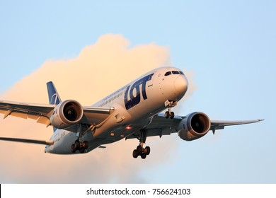 CHICAGO, ILLINOIS / USA - July 13, 2017: LOT Polish Airlines Boeing 787 Dreamliner passenger jet on final approach to O'Hare International Airport at the end of its flight from Europe.