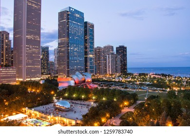 Chicago, Illinois, USA - July 2018: Aerial view of Chicago's popular tourist landmark Millennium Park during twilight