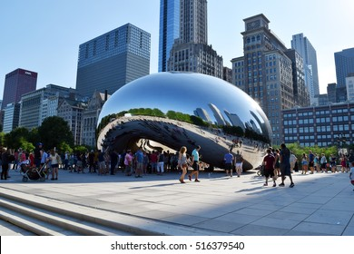CHICAGO, ILLINOIS (USA) - JULY 22nd, 2016: Millennium Park, Chicago featuring the Cloud Gate sculpture.  Also known as the Bean.