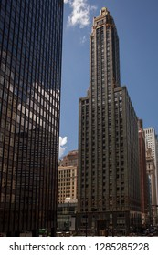 Chicago, Illinois, USA – July 27, 2014: Vertical shot of the beautiful art deco Carbide and Carbon Building façade, 230 N Michigan Ave