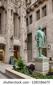 Chicago, Illinois, USA – July 28, 2014: Vertical view of the Nathan Hale statue at the Herald Tribune Tower entrance at 435 N Michigan Ave