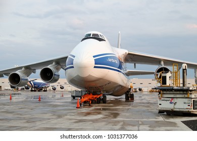 Chicago, Illinois / USA - July 3, 2017 - Volga-Dnepr Airlines Antonov An-124 Ruslan at the cargo terminal at Chicago O'Hare International Airport on a rainy afternoon.