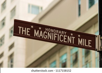 CHICAGO, ILLINOIS, USA - JUNE 14, 2018: Chicago's Magnificent Mile street sign along Michigan Avenue. The area is the city's premier shopping destination.