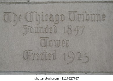 Chicago, Illinois, USA - June 20, 2018: Chicago Tribune Building Cornerstone 1925