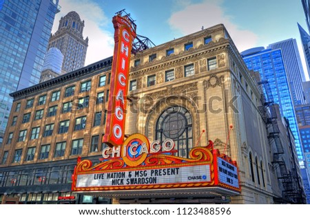 Chicago, Illinois, USA - June 22, 2018: The landmark Chicago Theatre on State street. The historic theater dates from 1921.